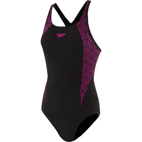 speedo Boomstar Splice Flyback Costume Da Bagno Intero Donna, black/electric pink
